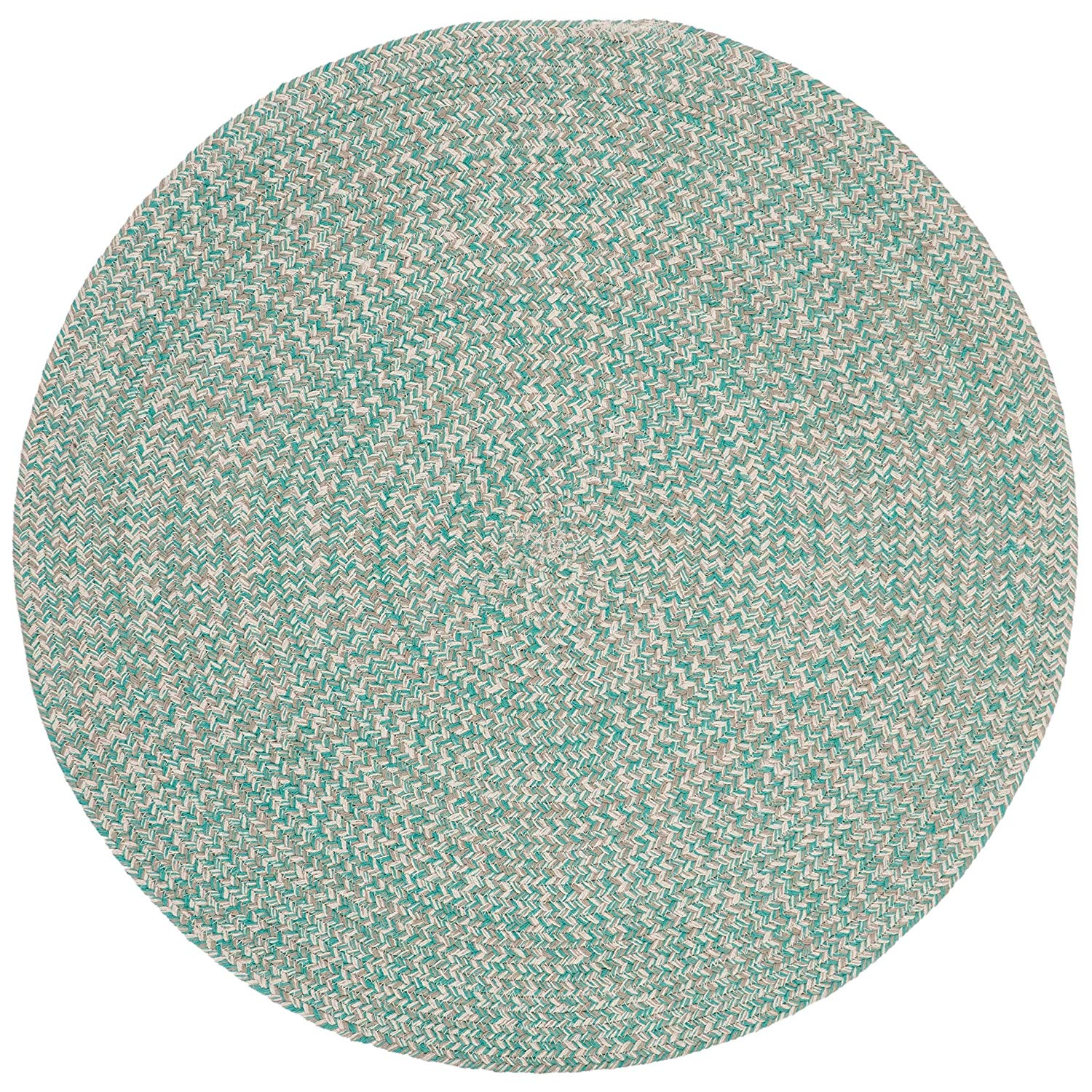 6ft Braided Circular Rug Teal Ivory Braid Weave Round Area Rug Light Turquoise Off White Indoor Carpet Country Farmhouse Theme Circle Floor Mat