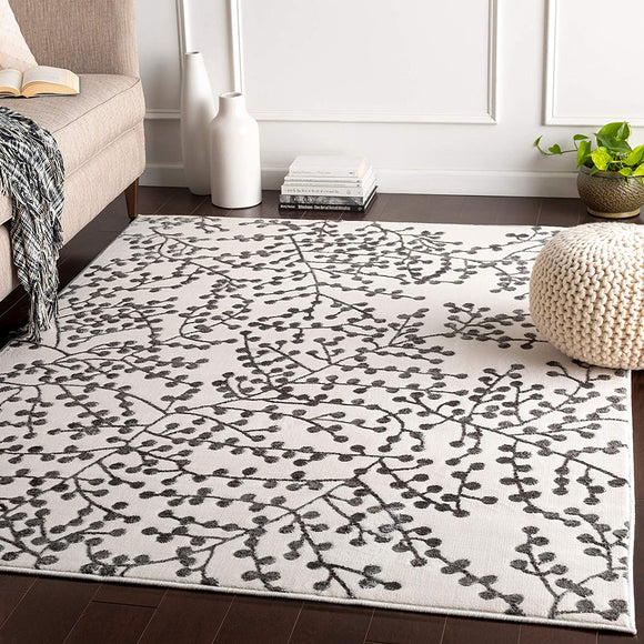 UKN White Grey Branches Area Rug 5'3