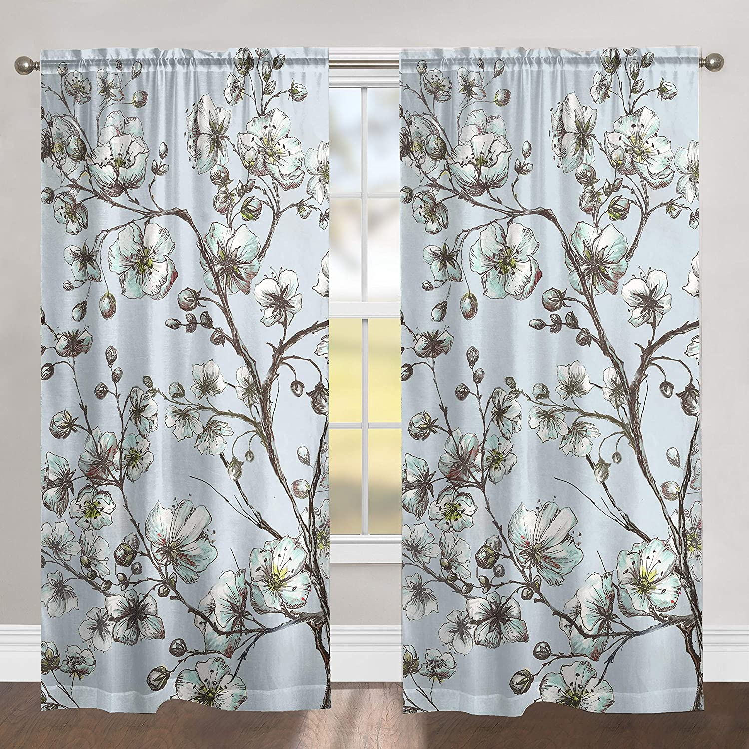 MISC Morning Blossoms 84 Inch Sheer Window Panel Blue Floral Polyester