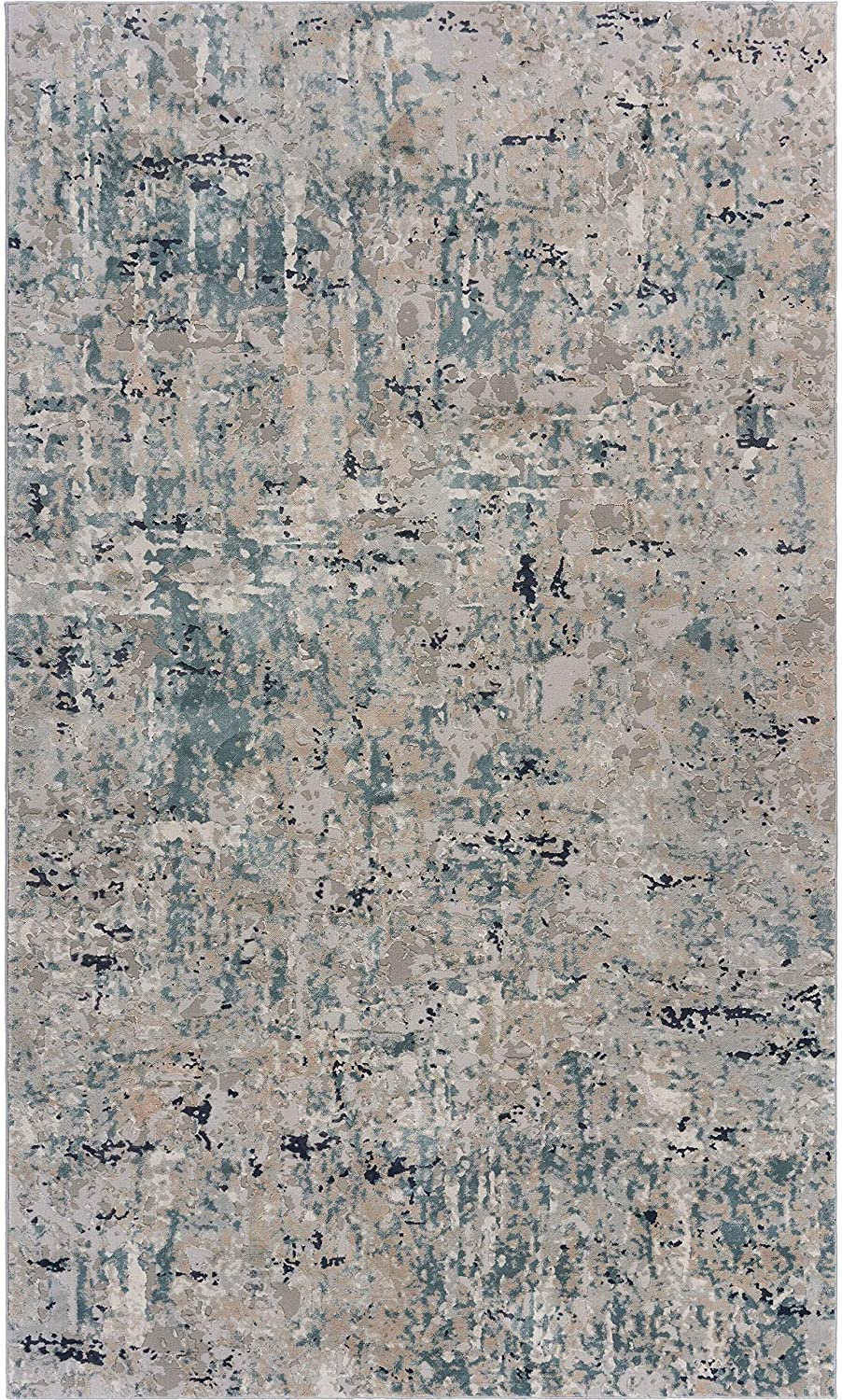 "Mist Area Rug 5'3"" X 7'6"" Blue Abstract Modern Contemporary Polyester Contains Latex"