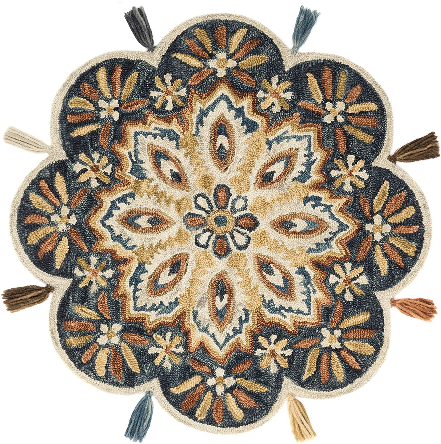 Hand Hooked Charcoal/Rust Floral Round Wool Area Rug 3' X Grey Botanical Farmhouse Transitional Contains Latex