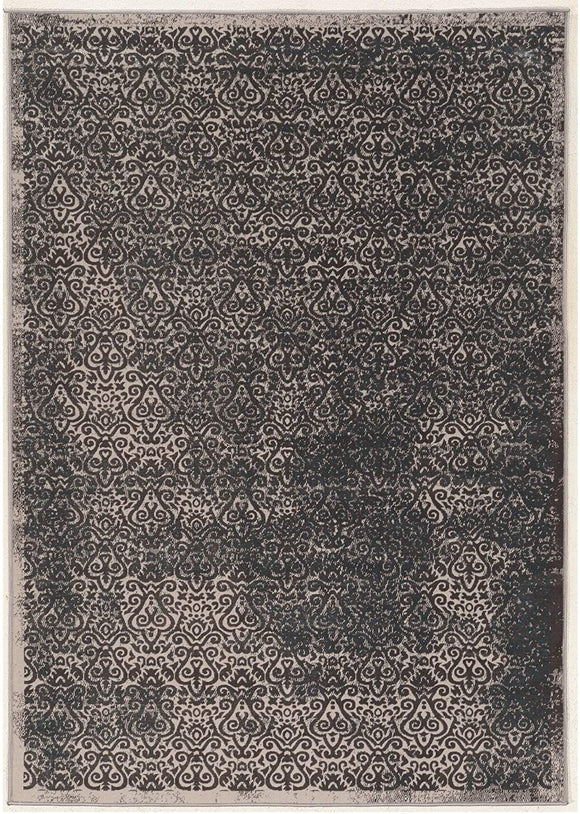 Vintage Collection Illusion Grey Blue Rug Transitional Polyester Latex Free