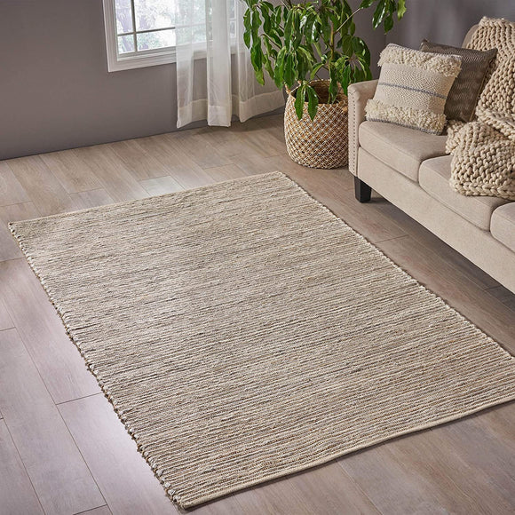 MISC Transitional Hemp Area Rug Fabric Accents 5' X 8' Beige Silver Stripe Latex Free Handmade