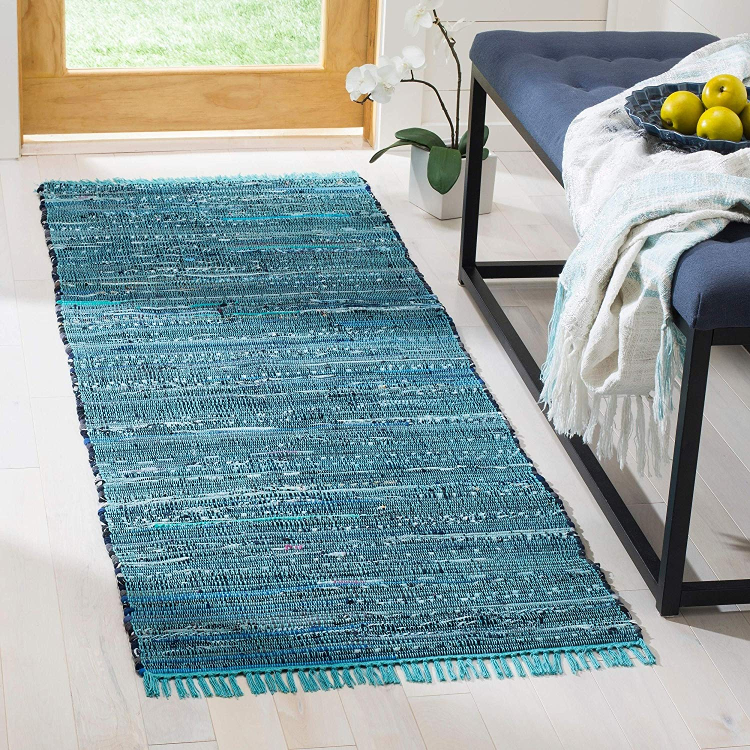 "Blue Rag Rug 2'3""x5' Ft Abstract Carpet Handmade Rectangle Shape Bathroom Entryway Kitchen Bohemian Mattress Eclectic Indoor Accent Rug Flatweave"