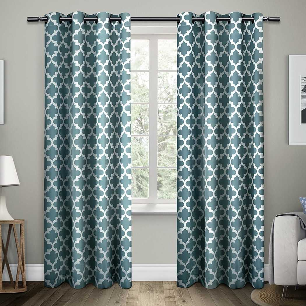 Lattice Pattern Window Curtain Set Panel Pairs Stunning Modern Trendy Trellis Geometric Pattern Unlined Cotton Matte