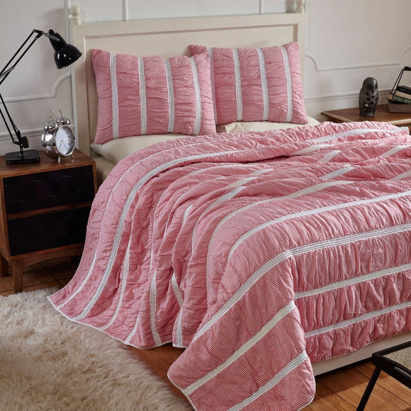Gingham Plaid Stripes Pattern Quilt Set Elega Embroidered Stripe Inspired Bedding Hippie Bold Checkered Design Classic Cottage