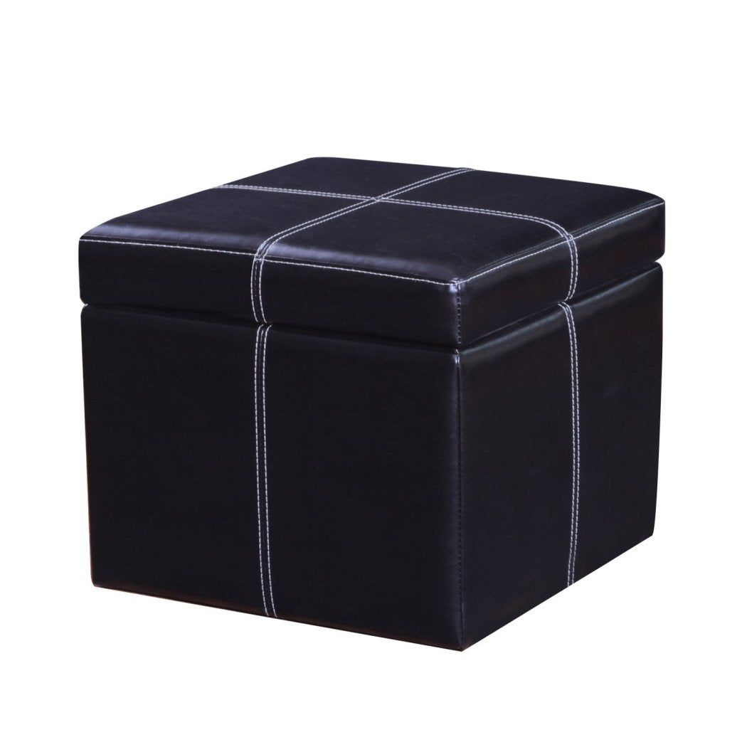 Square Shaped Ottoman Bonded Leather Pattern Modern Storage Footstool Type Living Room Bedroom Modern Themed Stylish