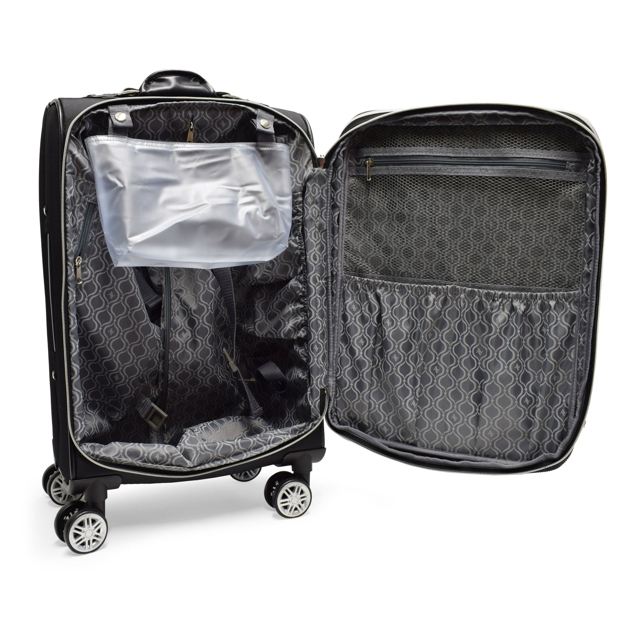 Quilted Collection 2 Piece Luggage Set Black Nylon Checkpoint-friendly Expandable Rolling - Diamond Home USA