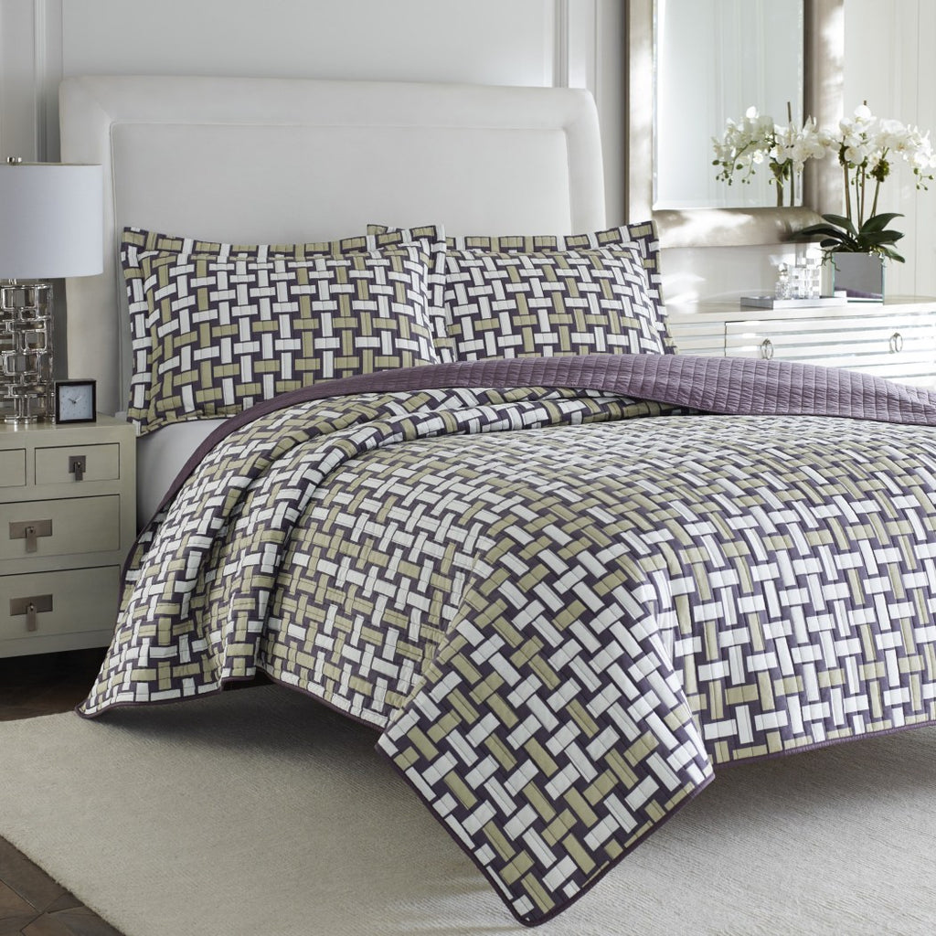 Trendy Quilt Set Geometric Weave Themed Bedding Retro Modern Stylish Abstract Chic Bold Pattern Vintage