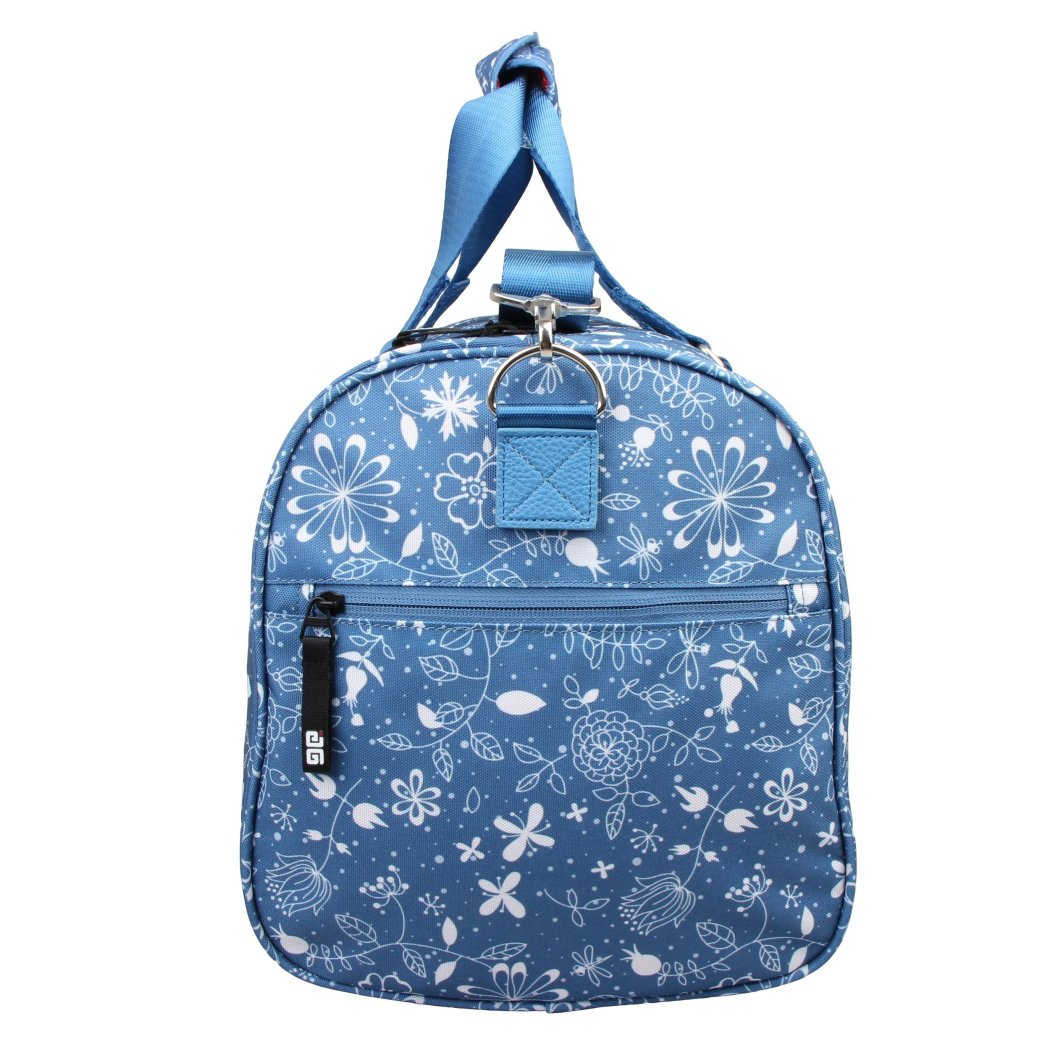Girls Blue Floral Dragon Fly Carry Duffel Bag Butterfly Flower Themed Luggage - Diamond Home USA
