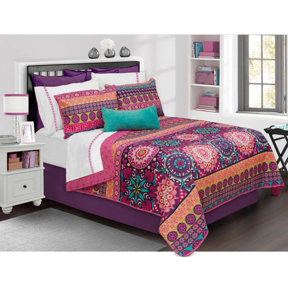 Girls Boho Chic Floral Theme Quilt Set Geometric Flower Medallion Bedding Horizontal Stripe Bohemian Intricate