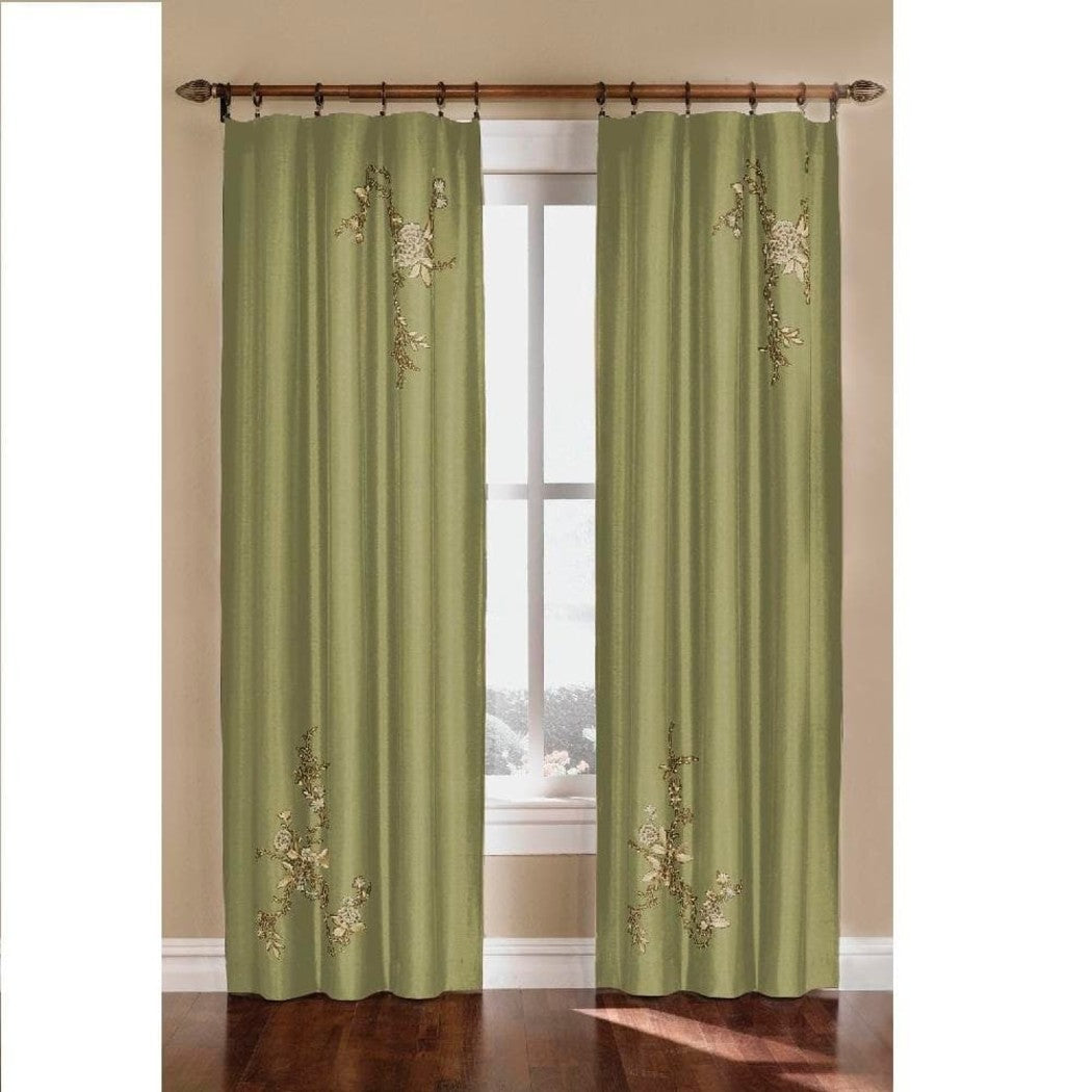 Girls Embroidered Floral Accent Window Curtain Single Panel Flowers Hippy Bohemian Window Treatment Modern