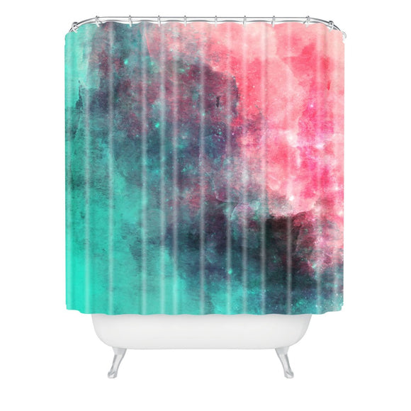 Aqua Blue Pink Graphic Art Themed Shower Curtain Polyester Detailed Colorful Galaxy Printed Abstract Graphical Pattern Modern Elegant Design Textures - Diamond Home USA