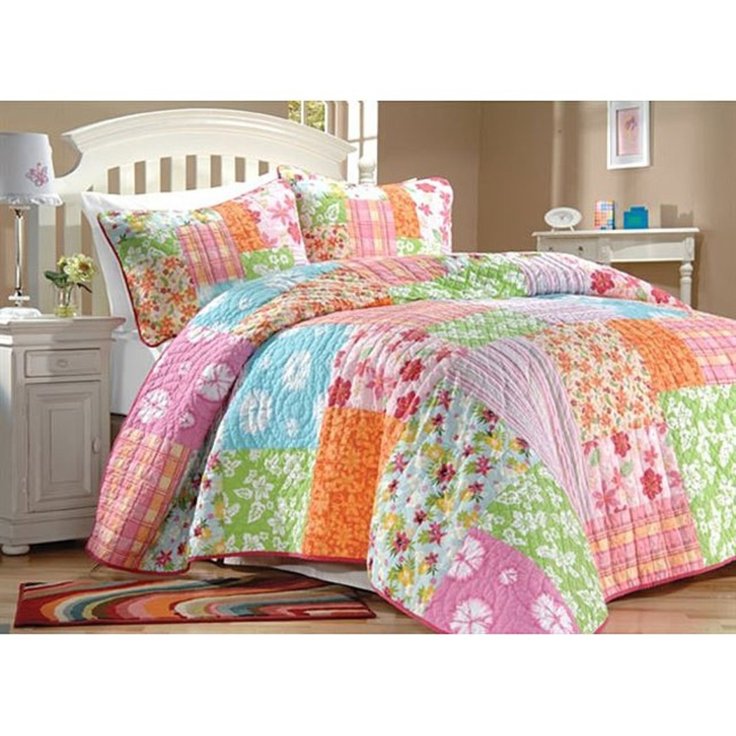 Kids Floral Quilt Set Plaid Striped Patterns Flowers Square Pattern Rectangle Rugby Striped Bedding Cotton