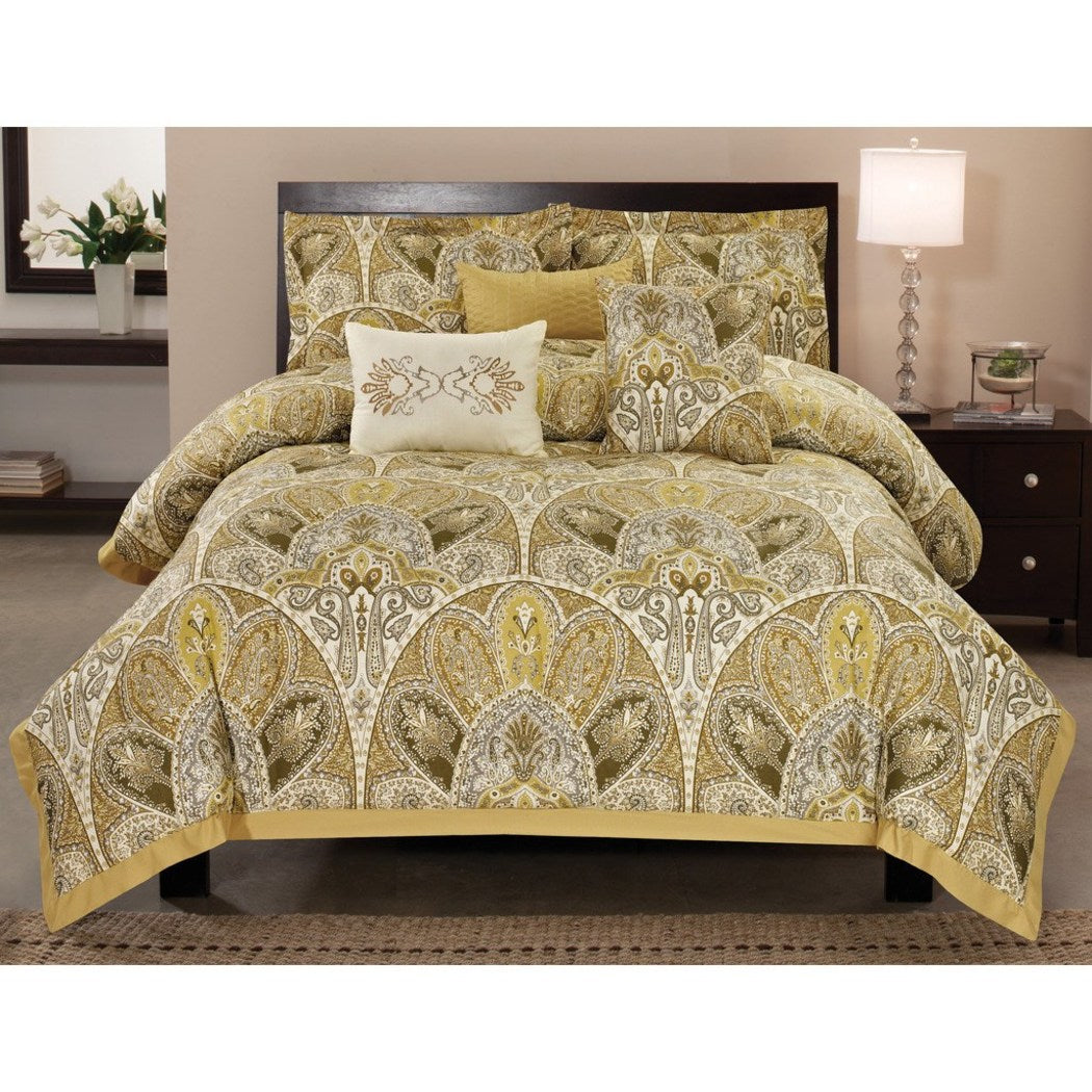 Paisley Printed Bold Lining Comforter Set Cozy Adult Bedding Master Bedroom Floral Casual Transitional Gorgeous Mandala Damask