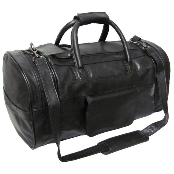 Dark Black Xtra Large Duffle Bag Black Leather 20 inch Carry Dual Zippered Duffel Compartment Feature Basic Carry Sport Type Classical Superior - Diamond Home USA