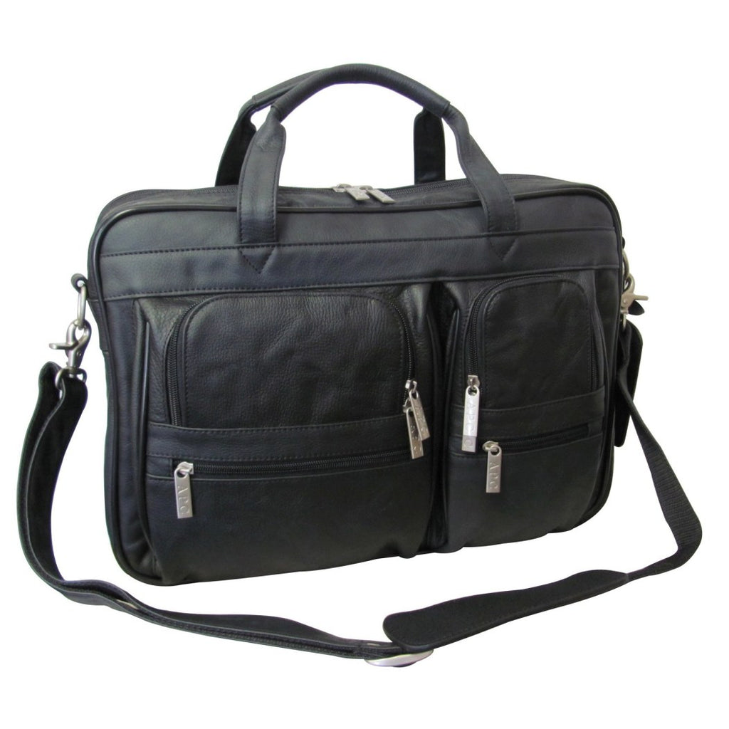 Black Contractor Briefcase Leather Business Lightweight Type - Diamond Home USA