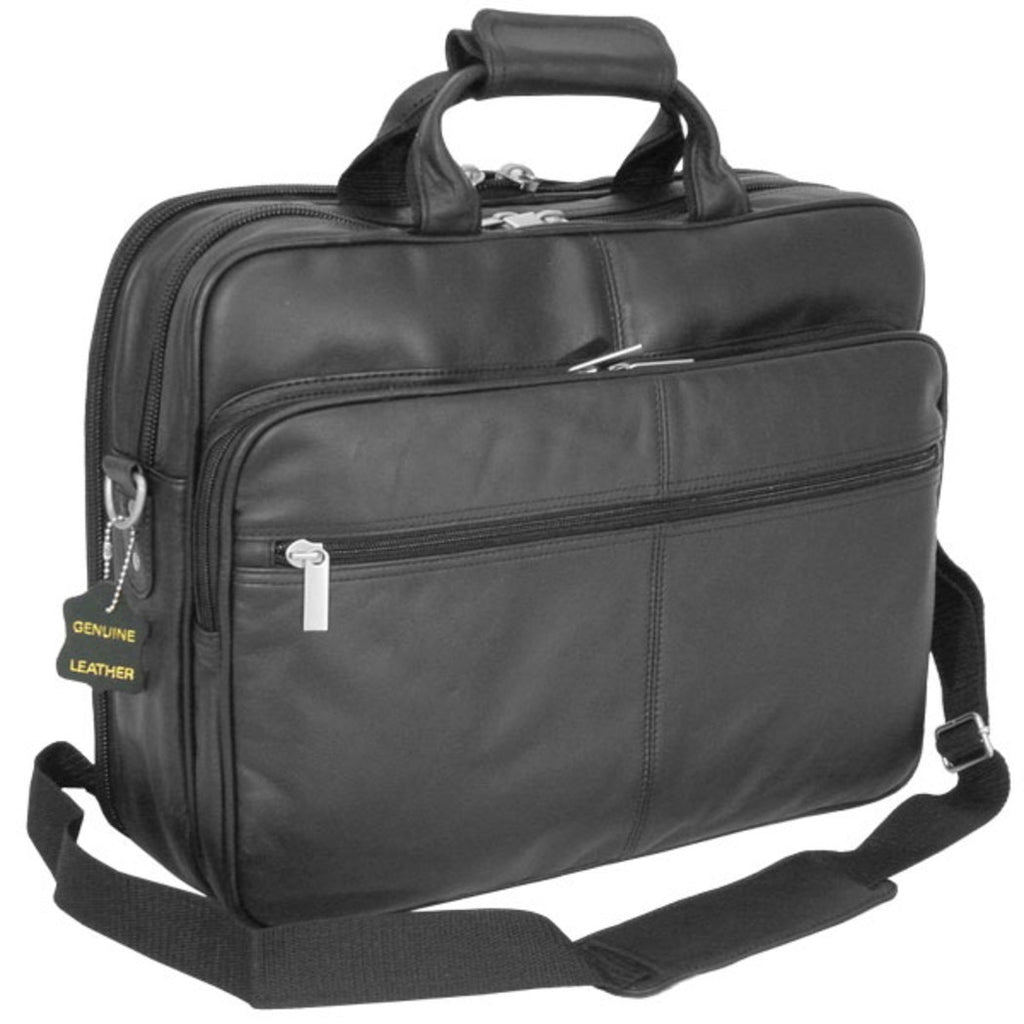Black Professor Briefcase Soft Attractive Leather Lightweight - Diamond Home USA