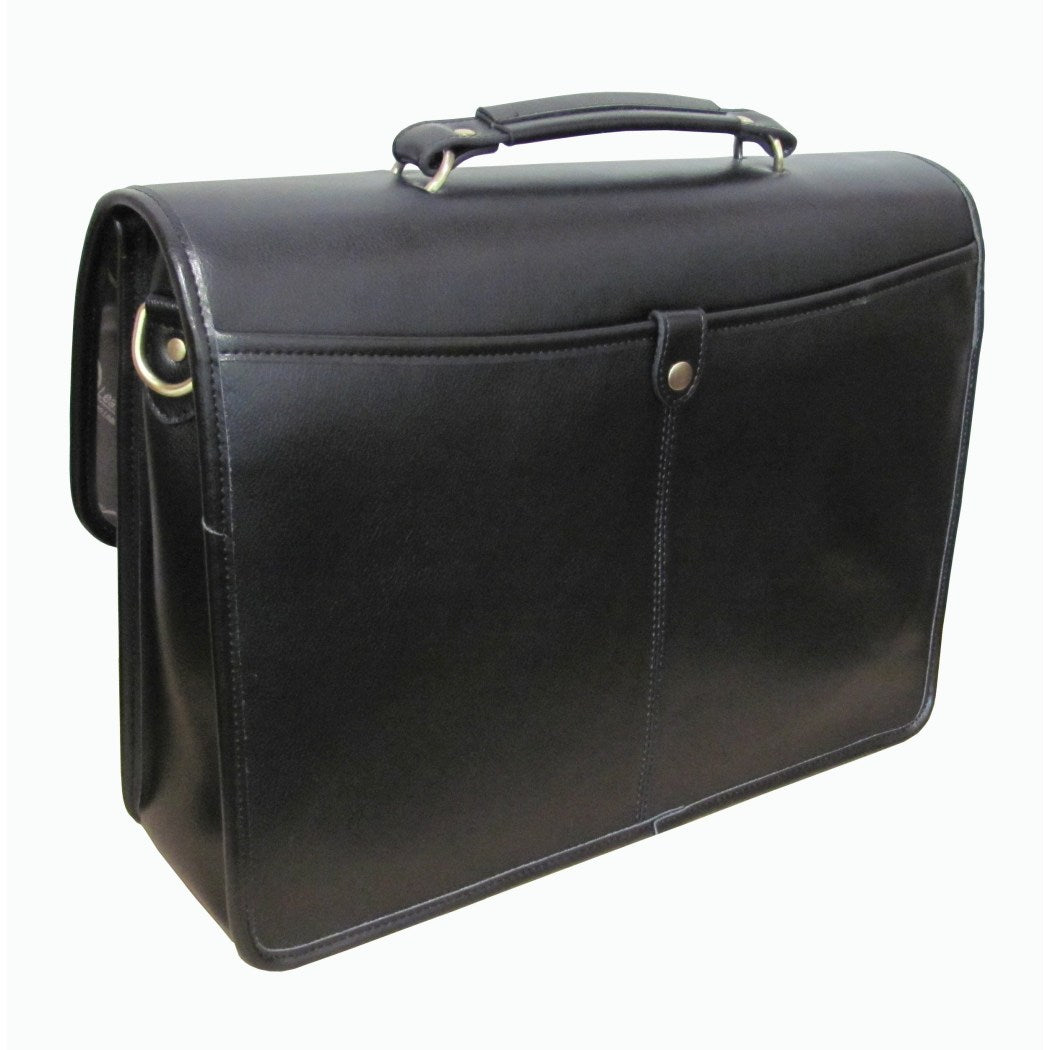 Leather Professor Briefcase Business Softside Type Flapover Locking Briefcase Leather Shoulder Strap Carrying Handle Pattern Zipper