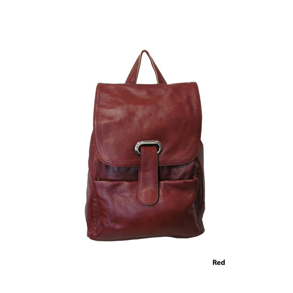 Female Flapover Backpack Compartment Drawstring Leather