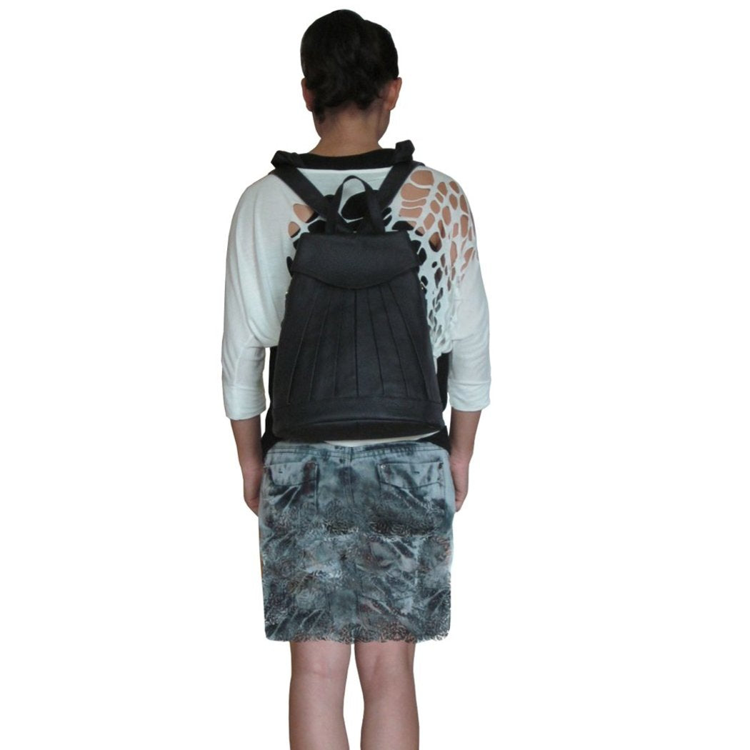 Fashion Mini Backpack Flapover Compartment Leather