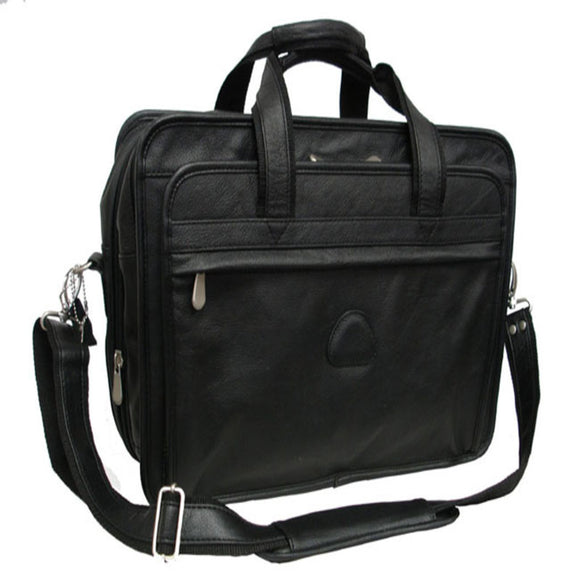 Black Contractor Briefcase Leather Solid Pattern Matte Finish Nickel Hardware - Diamond Home USA
