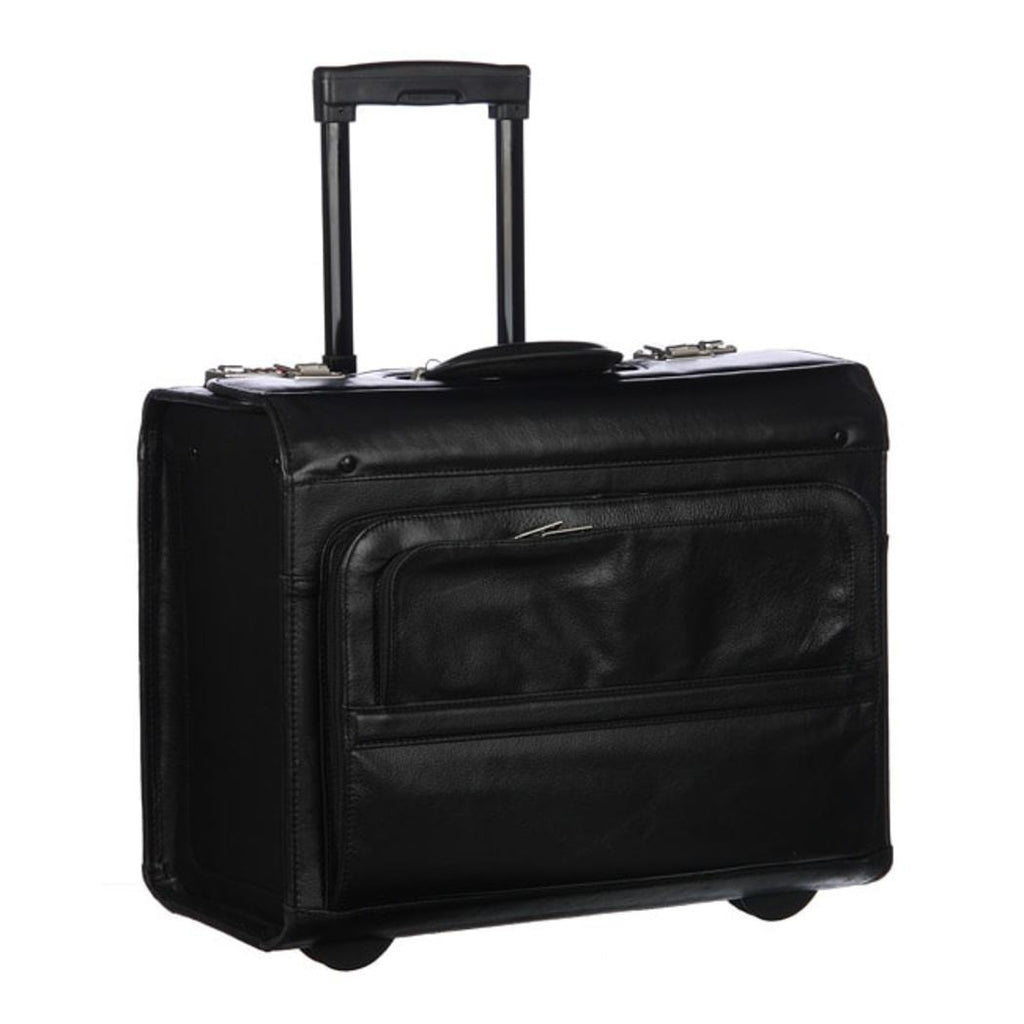 Rolling Catalog / Litigator Briefcase Leather Carriage Bag Business Softside Type Dual Combination Locking Solid Pattern Telescopic Locking Handle - Diamond Home USA
