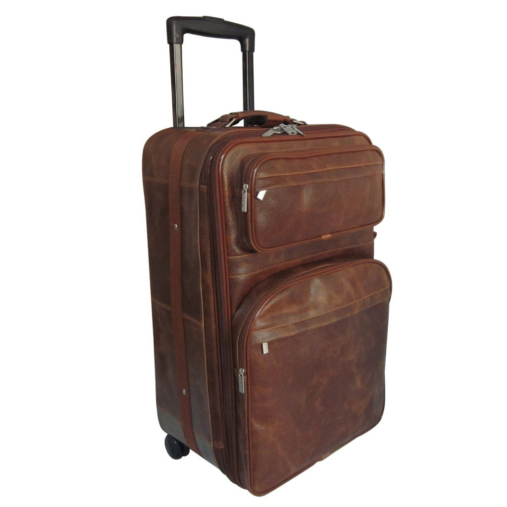 Brown Small Wheeled Duffle Bag 26 Inch Leather Upright Solid Expandable Handle - Diamond Home USA
