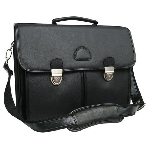 Dark Black Leather Professor BriefCase 15 2x12 5 Size Locking Two Main Compartment Center Zippered Pocket Removable Shoulder Strap - Diamond Home USA