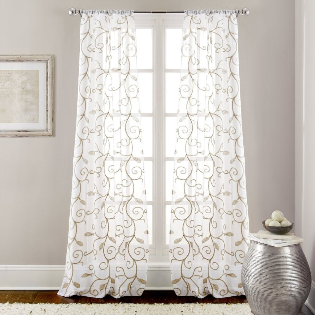 Leaf Swirl Design Floral Graphic Pattern Window Curtain Set Panel Pairs Traditional Classic Modern Floral Geometric Pattern