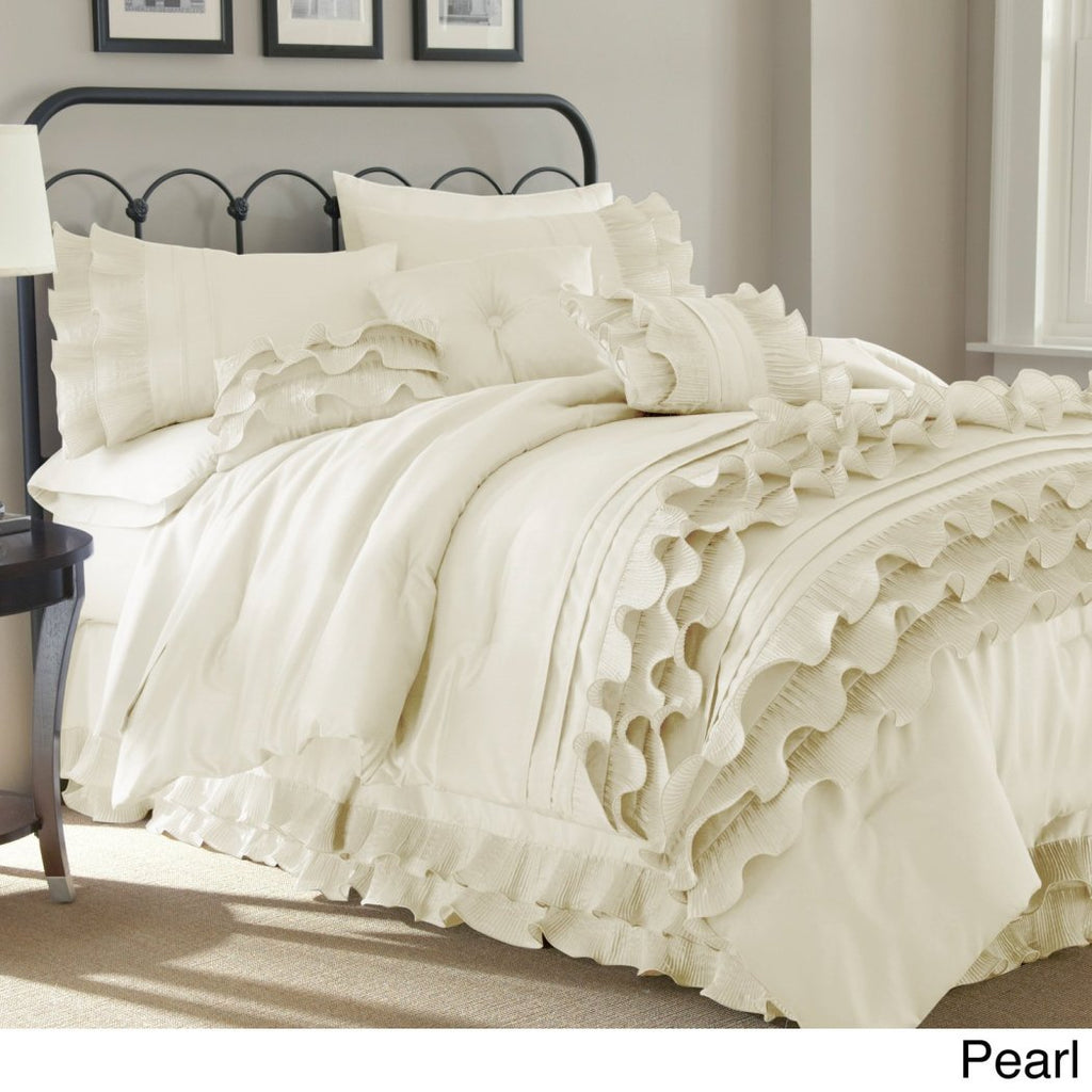 Ruffled Stripes Pattern Comforter Set Luxury Modern Bedrooms Shabby Chic Ruffles Lines Design Classic French Country Neutral Solid