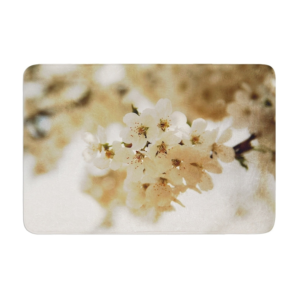 "Angie Turner ""Flowering Pear"" Memory Foam Bath Mat White Single Piece - Diamond Home USA"