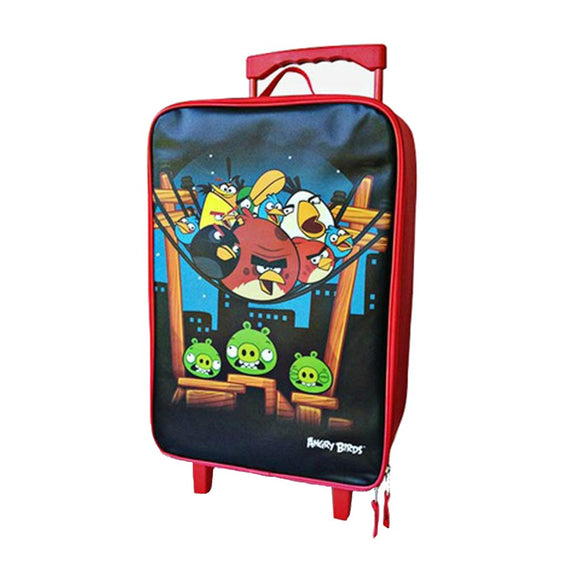 Red Rolling Briefcase Kids 6 inch Kids Rolling Upright Suitcase Checkpoint Friendly Character Pattern Polypropylene Angry Birds themed Roller Bag - Diamond Home USA