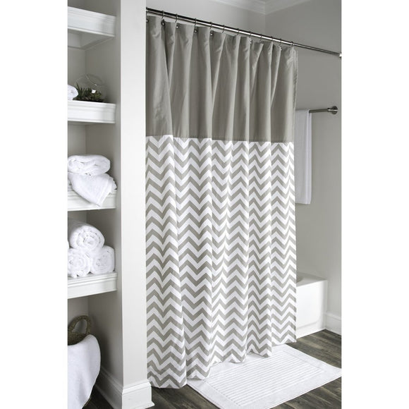 Grey White Zig Zag Printed Shower Curtain Cotton Lightweight Abstract Graphical Geometric Pattern Detailed Colorful Textures Printed Modern Elegant - Diamond Home USA