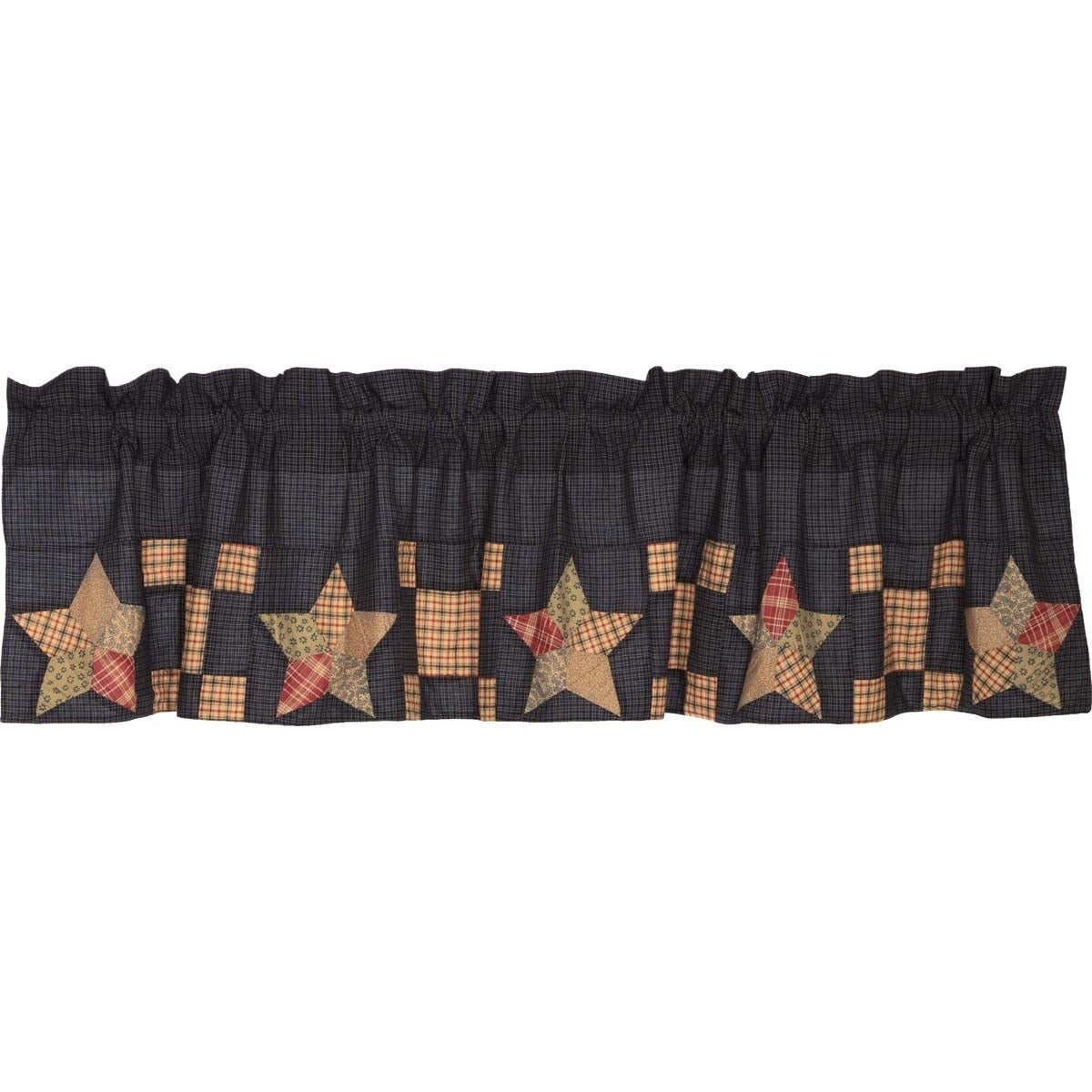Tan Americana Kitchen Curtains Vhc Arlington Valance Rod Pocket Cotton Star Patchwork - 16x72 Blue Red Novelty Lined - Diamond Home USA