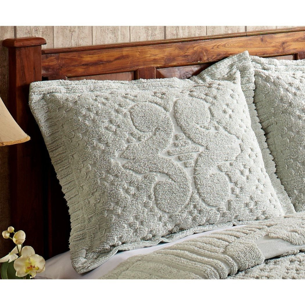 Oversized Chenille Bedspread Coastal Medallion Pattern Extra Long Wide Drapes Over Edge Drops Down Floor Oversize Bedding Flower