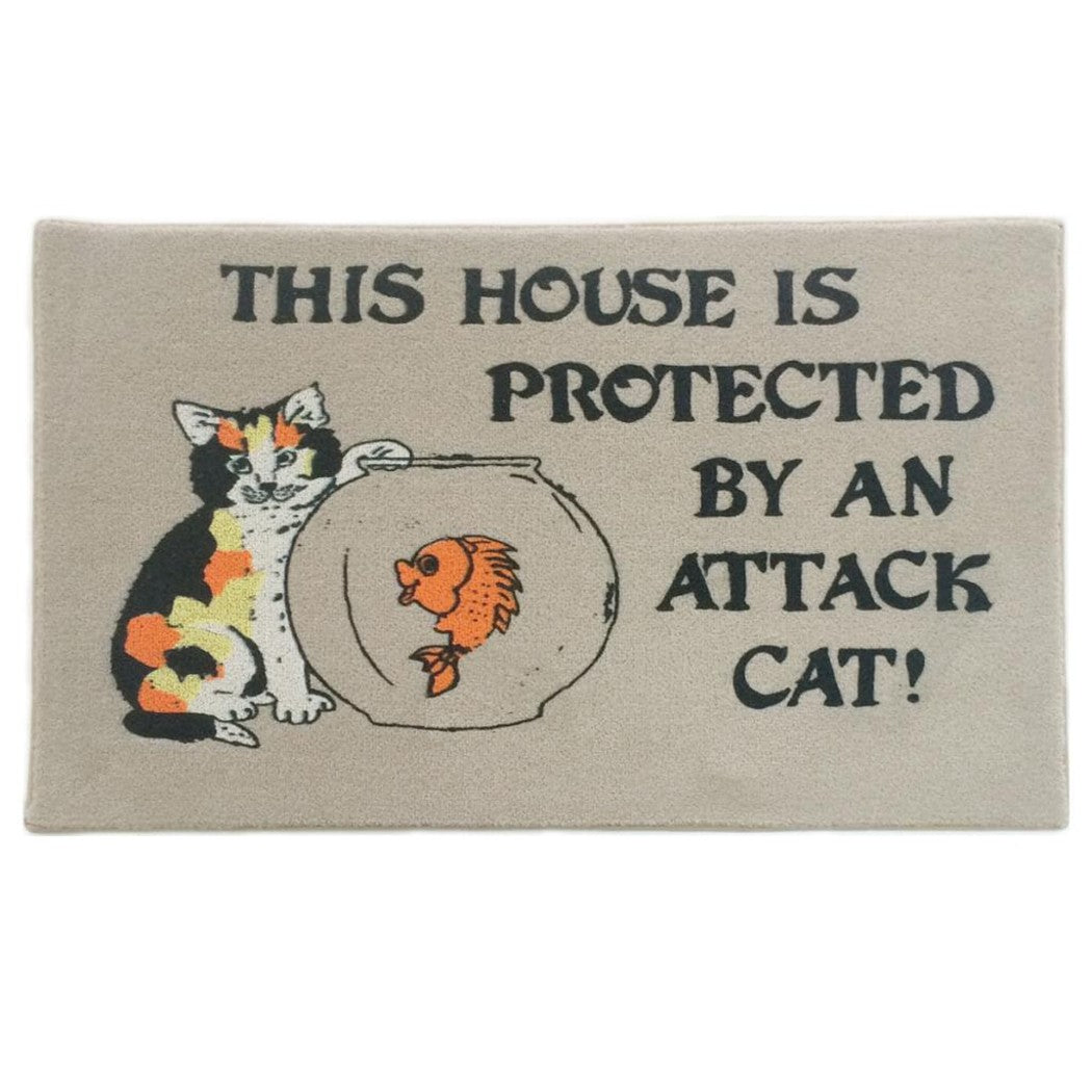 "Cat Indoor Mat "" House is Protected by an Cat "" Humorous Door Mats Cat Lovers Adorable Funny Rectangle Use Entryways Beige Go Away Mat - Diamond Home USA"