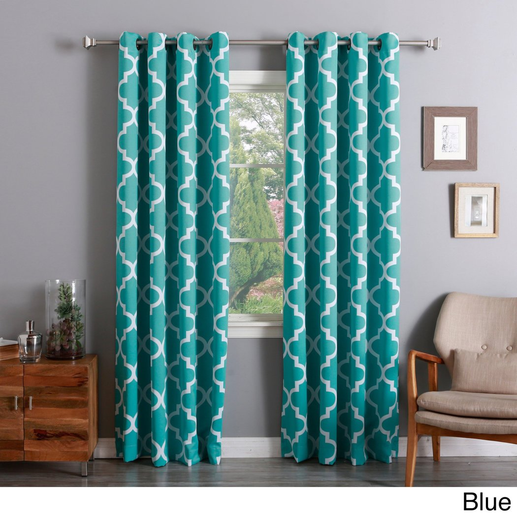Girls Moroccan Window Curtain Pair Panel Set Geometric Trellis Pattern Lattice Bohemian Window Treatment Luxury