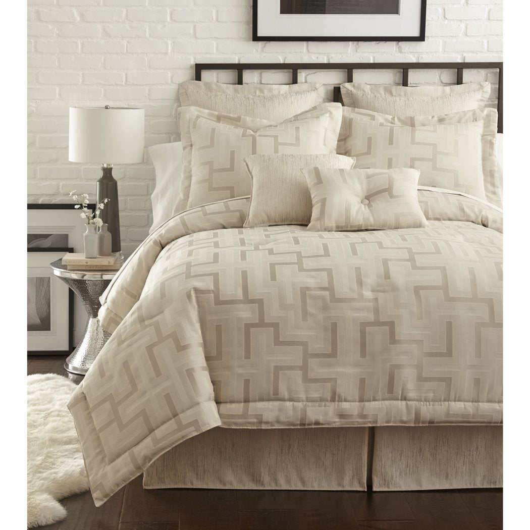 Geometric Line Pattern Comforter Set Abstract Jacquard Textured Adult Bedding Master