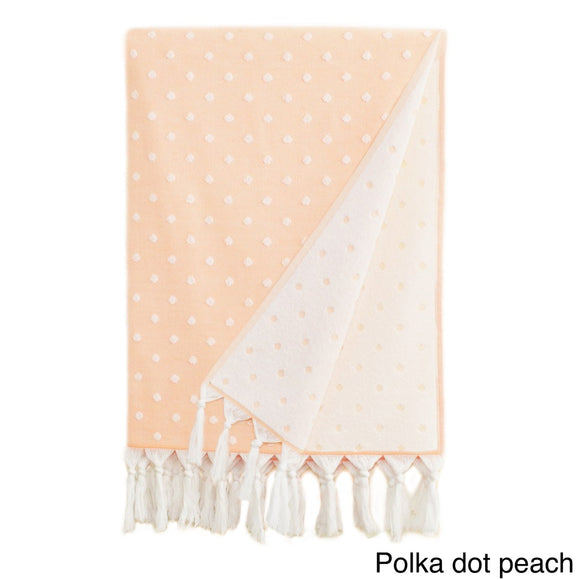Polka Dot Patterned Towel Turkish Cotton Bath Towel lightweight Eco Friendly Beach Towel Flat Woven Decorative Front Absorbent Terry Back Bath