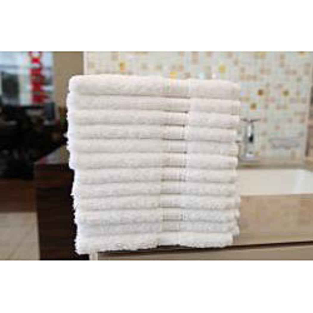 Authentic Hotel Spa Turkish Cotton Washcloth Set 12 Large White Luxurious Thick Fingertip Towel Washcloths Classic Solid Super Absorbent Heavy Use - Diamond Home USA