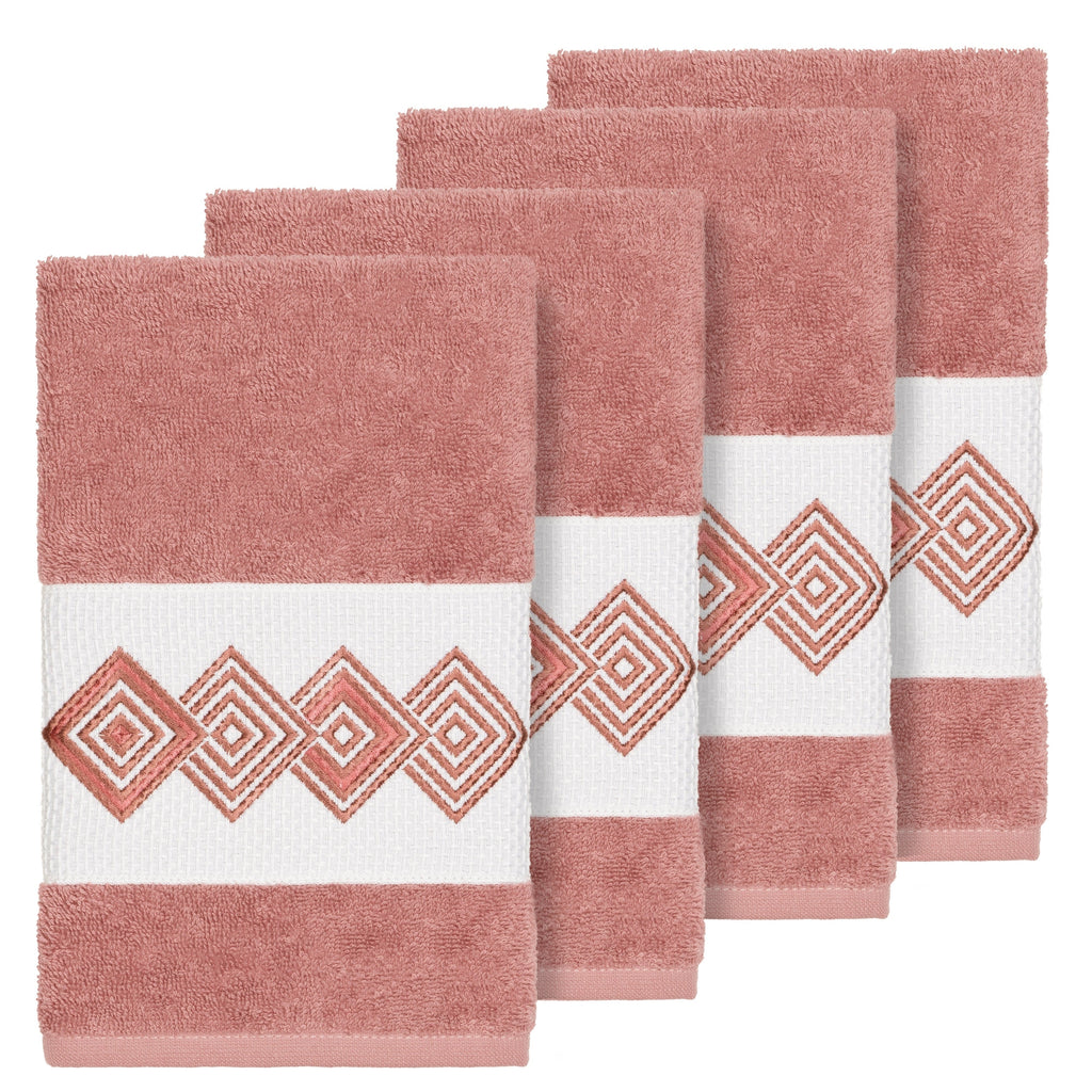 Authentic Hotel and Spa Turkish Cotton Diamonds Embroidered Tea Rose 4-piece Hand Towel Set Pink Terry Cloth - Diamond Home USA