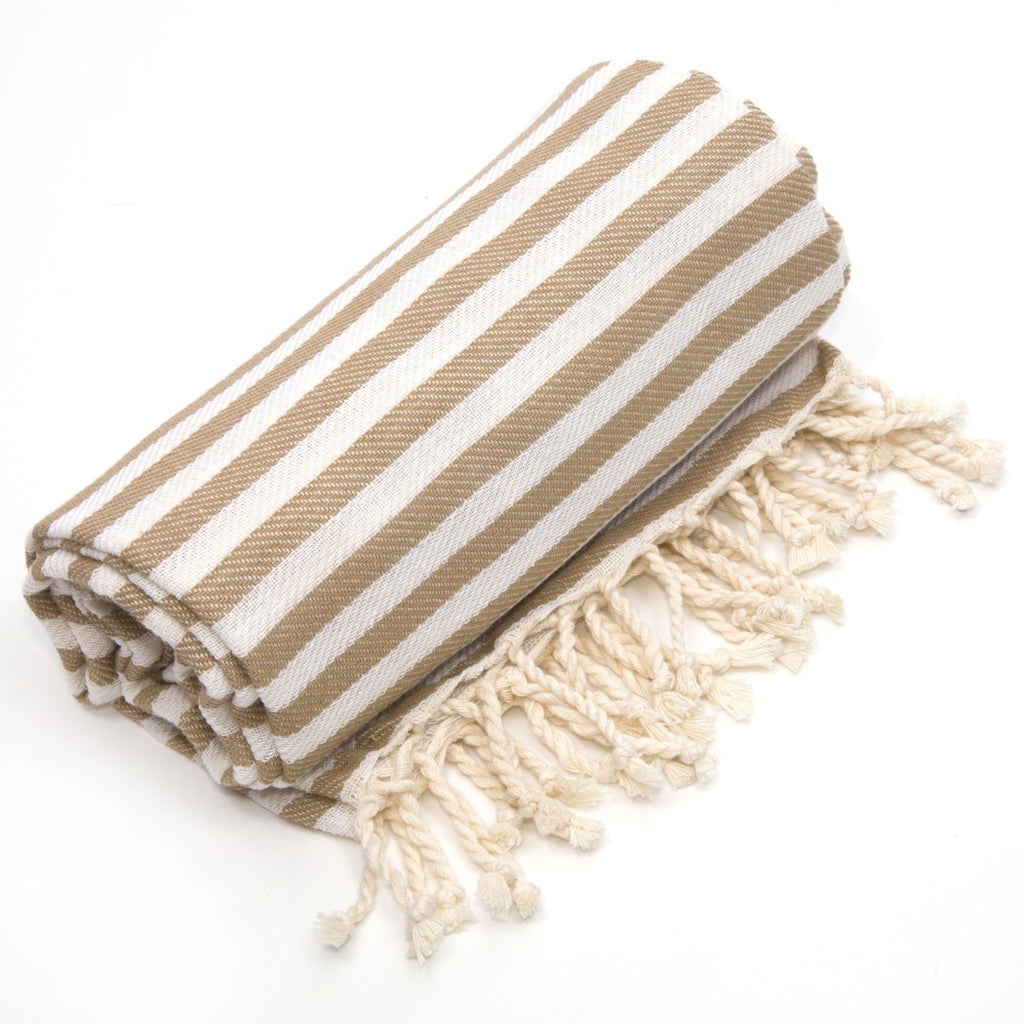 Medium Tan Pestemal Bath Towels Set Stripe Beach Towels Turkish Cotton Towel Set Ultra Soft Lightweight Fancy Color Light Brown White - Diamond Home USA