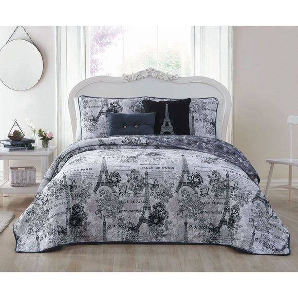 I Love Paris Theme Quilt Set Classy France Insipred Eiffel Tower Bedding Floral Butterfly Pattern Flower Butterflies