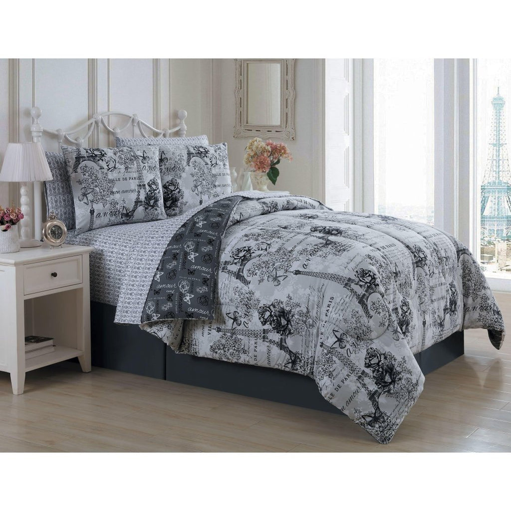 I Love Paris Theme Comforter Set Classy France Insipred Eiffel Tower Bedding Floral Butterfly Pattern Flower