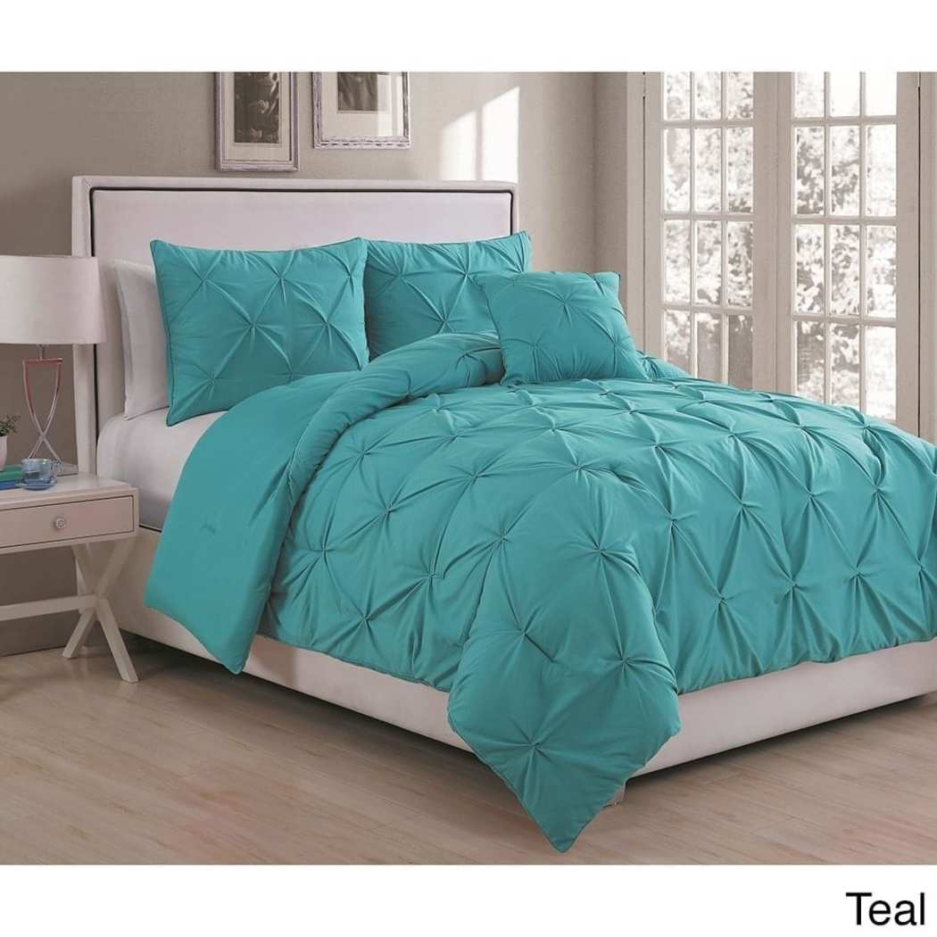 Pintuck Puckered Pinched Pleat Comforter Set Diamond Tufted Shabby Chic Adult Bedding Master Bedroom Casual