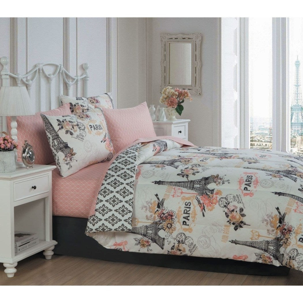 Girls I Love Paris Themed Comforter Set Pretty Floral Eiffel Tower Bedding Cute Flowers France Inspired Girly Flower Medallion Motif