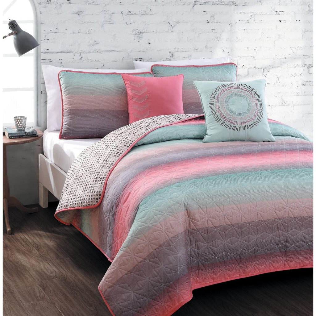 Quilt Set Girls Microfiber Bedding Teens Students Fusion Starburst Stripe Across Pattern