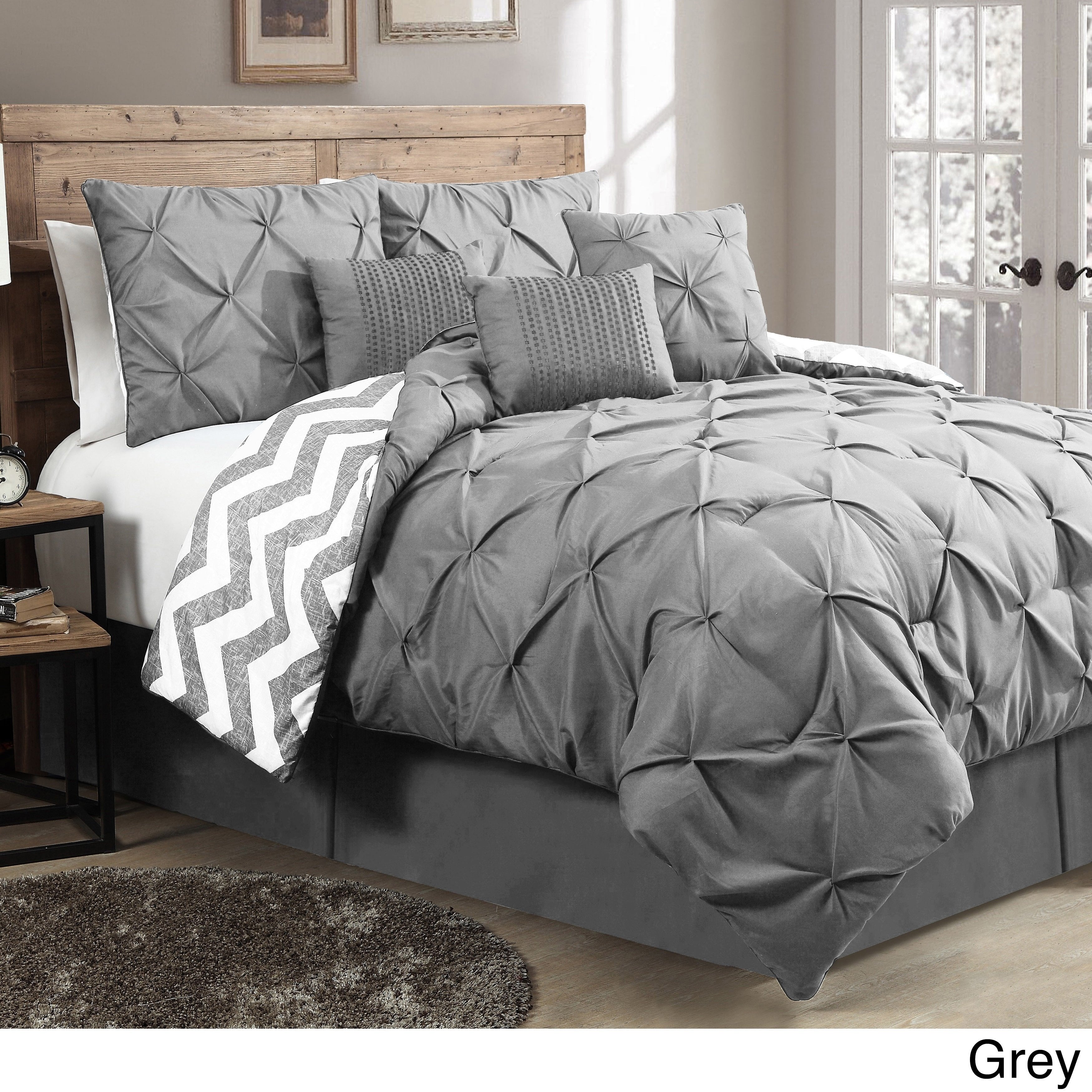 Pinch Pleat Comforter Set Pintuck Diamond Textured Bedding Chevron Stripes Design Master Bedrooms Modern Casual Solid