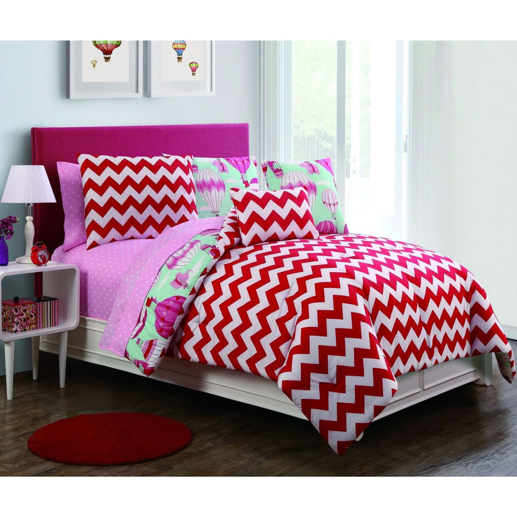 Girls Hot Air Balloon Theme Comforter Set Cute Adorable Floating Flying Elephant Fo Bedding Fun Girly Polka Dot Zigzag Chevron Themed Pattern Red